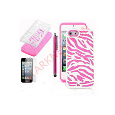 Hot Pink White Zebra Dual Flex Hard Hybrid Gel Case Cover Apple iPhone 5  5S SE
