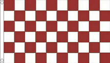 5' x 3' White and Claret Maroon Check Flag Checkered Banner