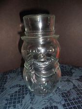 LIBBEY OF CANADA CLEAR GLASS JAR SNOWMAN SHAPE  NO RUBBER SEAL ON LID EUC