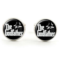 THE GODFATHER CUFFLINKS  SILVER PLATED + FREE GIFT BOX  & 1ST CLASS POST