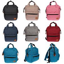 Damen Canvas Rucksack Tablet Laptop Fach Tasche Schwarz Grau City Bag Backpack