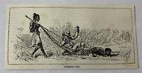 1885 magazine engraving~ Africa Missionary ~ HAMMOCK LIFE collapsed bearer