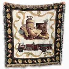 "Firefighter Tapestry Throw Blanket 48 x 54"" Antique Fireman by Sharon Pedersen"