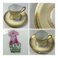 T & V Limoges Antique Gold Gilded Demitasse Cup & Saucer (M12