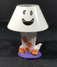 Halloween Candle Holder Ceramic Ghost Base BOO Metal Ghost Top White Orange NEW