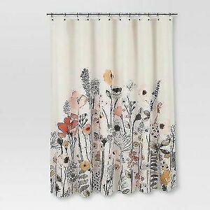 "New Threshold Floral Wave Shower Curtain Fabric 100% Cotton 72""x72"" White Orange"