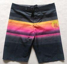197b6e663 Hurley Youth s BoadShorts Swim Swimming Swimwear Black Striped Size 20 30W  NWT