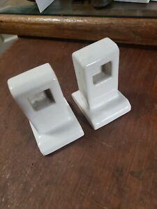 Pair of White Porcelain Towel Bar Rod Holders Ceramic Vintage Mid Century