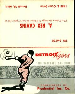Rare 1960  Advertising Baseball Schedule Detroit Tigers Prudential Insurance