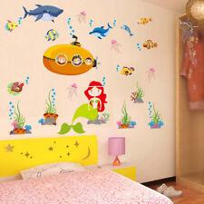 Mermaid Under the Sea Removable Wall Sticker Nursery Kids Decal Bathroom Bedroom
