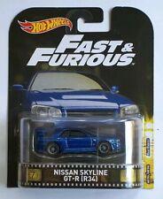 Hot Wheels RETRO ENTERTAINMENT FAST AND FURIOUS NISSAN SKYLINE GTR R34 BLUE
