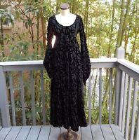 Vintage GOTHIC Dress 1940's ANNINE Gown Black XS/S VELVET