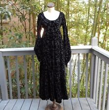 Vintage GOTHIC Dress 1940's ANNINE Gown Black XS/S VELVET