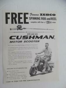 c.1961 Cushman Scooter Zebco Fishing Rod Reel Promo Offer Catalog Sheet Vintage