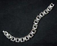 Vintage Monet Silver Tone Square Link Bracelet
