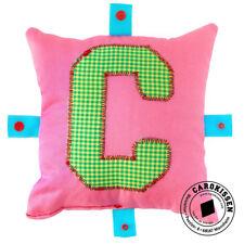 CAROKISSEN Original Chica Buchstabenkissen rosa, personalisiertes Kissen, Karo