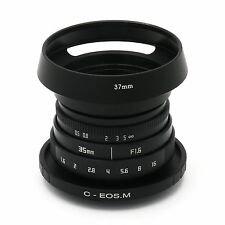 FUJIAN 35mm f/1.6 C Mount lens II for Canon EOS M EF-M Mirrorless Camera&hood bl