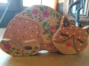 Large Hand Carved Beautiful Set of 3 Wood Brown Cats Pet Lover Find