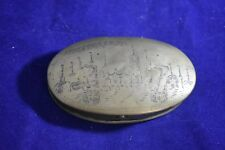 Antique Dutch Engraved Brass Tobacco / Snuff Box, 18th Cent