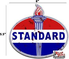 """6"""" OLD style RUSTY STANDARD TORCH GAS PUMP OIL TANK DECAL"""