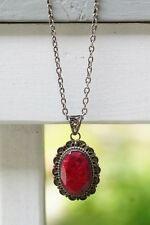 """Red Sponge Coral Pendant 1.5"""" x 1"""" Oval Estate Piece set in 925 Sterling Silver"""