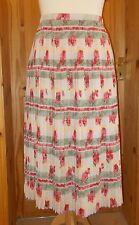 ALEXON oatmeal green coral pink floral poppies pleated chiffon long skirt 16 42