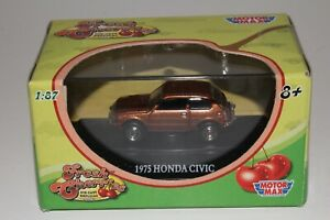 MOTORMAX FRESH CHERRIES DIECAST 1975 HONDA CIVIC, ORANGE, 1:87 HO SCALE, NIB