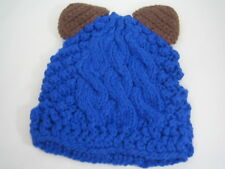 ElfWurks Cable Knit Beanie Hat with Ears Blue & Brown Hand Knit Animal Look NEW
