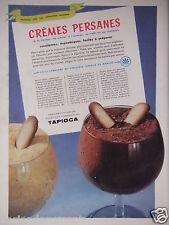 PUBLICITÉ 1958 TAPIOCA DE MANIOC RECETTE CRÈME PERSANES - ADVERTISING