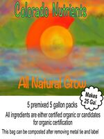 Grow nutrients for cannabis and garden, 5 x 5 gal packets, makes 25 gallons
