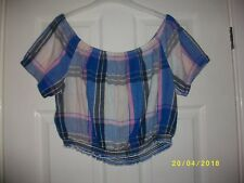 Ladies Blue Multi Bardot Style Cropped Top Size 18 from New Look