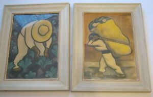 2 Vintage Diego Rivera Prints Off To Market Cabbage Patch Framed 20 x 16