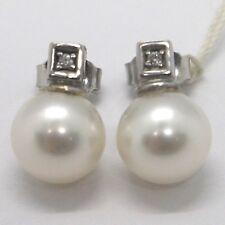Pendientes de perlas circonita blanco 750er oro 18 quilates dorado plata o2906s
