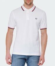 FRED PERRY SLIM FIT TWIN TIPPED POLO WHITE WITH RED & NAVY TIPS - XL 2 Only