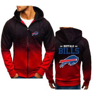 Buffalo Bills Men's Gradient Hoodie Fleece Hooded Sweatshirt Zipper Jacket Gift