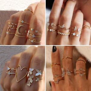 5-10pcs Set Butterfliy Flower Crystal Knuckle Midi Finger Rings Women Jewelry