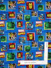 Marvel Comics Super Heroes Geo Blue Cotton Fabric Springs Cp59497 By The Yard
