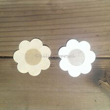 2 Pairs 4 Pcs Nude Breast Nipple Conceal Cover Up Tape Disposable Petal Flower