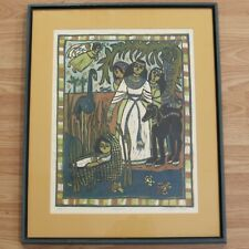 """Framed Mary Hamilton Block Print Moses Signed & Numbered 13/50 22""""x18"""""""