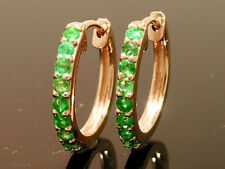 E027 Lovely Genuine 9ct Solid Rose Gold NATURAL EMERALD HUGGIE Earrings Hoops