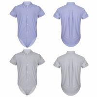 Homme Body à Manches courtes Chemise Haut Décontracté Combinaison avec Boutons