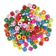 100pcs Wooden Alphabet Letters Cube Beads for Jewelry Making 10mm Multicolor