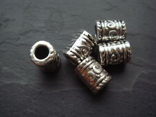 25 silver tube column spacer beads 9mm long Tibetan decorated style