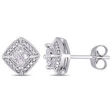 Amour 10k WG Princess-Cut Diamond Quad Halo Stud Earrings