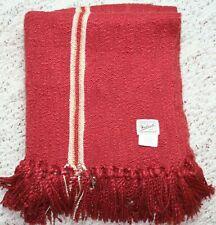 Woolrich Blanket Rust Red Cream Stripe Throw Tassel Fringe Acrylic 50 x 52 Soft
