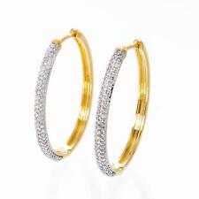 Creolen Ohrringe oval Zirkonia weiss 750er Gold 18K vergoldet gelbgold O2648S