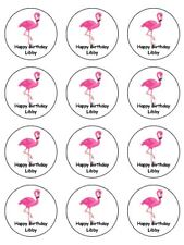 "12 x Flamingo Personalised 2"" PRE-CUT PREMIUM RICE PAPER Cake Toppers"