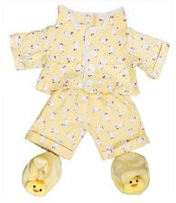 "Yellow chick pyjamas pjs & slippers outfit teddy clothes fits 15"" Build a Bear"