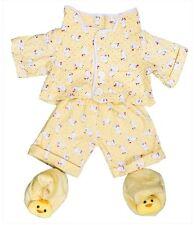"GIALLO PULCINO Pigiama Pjs & Pantofole Outfit Teddy Vestiti Adatti a 15"" Build A Bear"