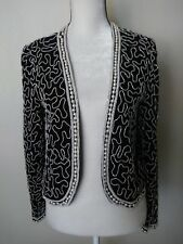 191bf5428fccb Vintage Leslie Fay Evenings 100% Silk Beaded Cardigan Formal Large Black  White